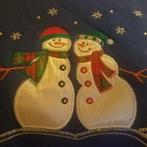 Basic Editions Tops - NEW Holiday Editions Blue SNOWMAN Sweat Shirt 2X